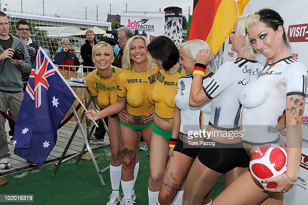 Porn Stars during the football game attend the Sexy Soccer Erotic football during the public viewing of the World Championship at Traumstrand Berlin...