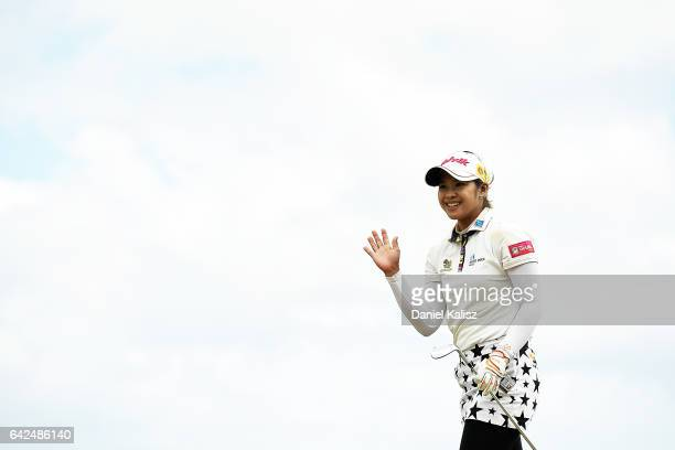 Pornanong Phatlum of Thailand gestures to the crowd during round two of the ISPS Handa Women's Australian Open at Royal Adelaide Golf Club on...