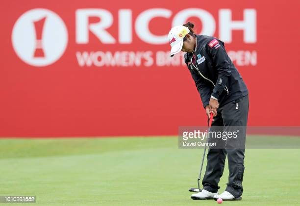 Pornanong Phatlum of Thailand hits a putt on the 18th hole during the second round of the Ricoh Women's British Open at Royal Lytham and St Annes...