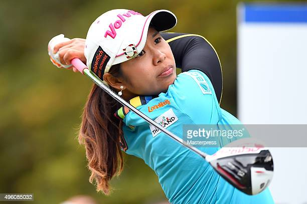 Pornanong Phatlum of Thailand hits her tee shot on the 18th hole during the second round of the TOTO Japan Classics 2015 at the Kintetsu Kashikojima...