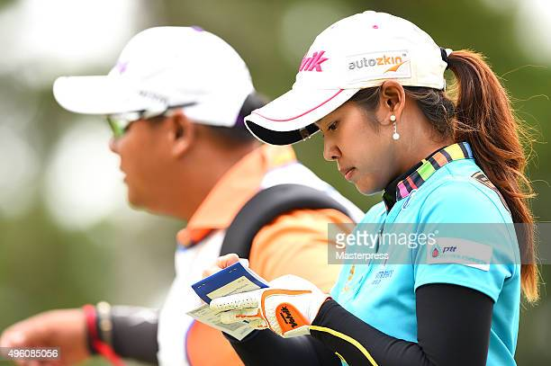 Pornanong Phatlum of Thailand looks on during the second round of the TOTO Japan Classics 2015 at the Kintetsu Kashikojima Country Club on November 7...