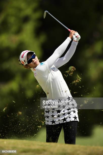 Pornanong Phatlum of Thailand plays a shot during round three of the ISPS Handa Women's Australian Open at Royal Adelaide Golf Club on February 18,...