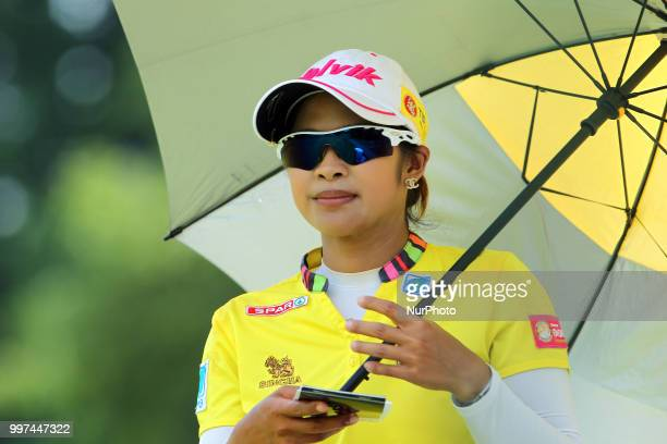 Pornanong Phatlum of Thailand waits to hit from the 15th tee during the first round of the Marathon LPGA Classic golf tournament at Highland Meadows...