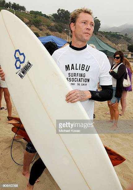 Porno for Pyros bassist Martyn LeNoble surfs at the 4th Annual Surfrider Foundation Celebrity Expression Session at First Point Surfrider Beach on...