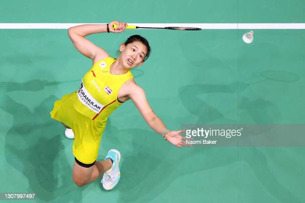 Pornpawee Chochuwong of Thailand returns a shot during her quarter final women's singles match against Beiwen Zhang of the USA during day three of...