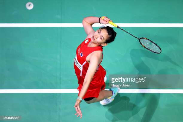 Pornpawee Chochuwong of Thailand returns a shot during her Women's Singles Semifinal match against P. V. Sindhu of India during day four of YONEX All...