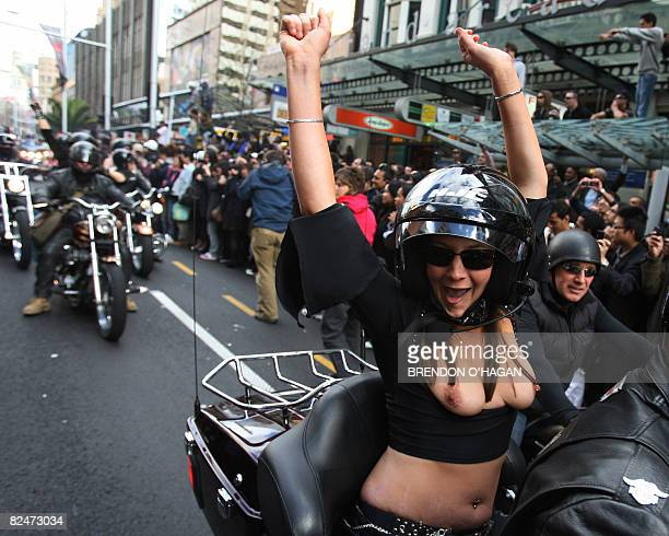 Pornstars in the country for an Erotica Show participate in the 'Boobs on Bike' Parade along Queen street the main street in downtown Auckland on...