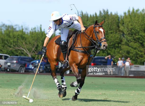 Poroto Cambiaso of Valiente plays the ball against Richard Mille during The Palm Beach Open on March 15 2020 at the Grand Champions Polo Club in West...