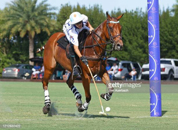 Poroto Cambiaso of Valiente scores a goal against Richard Mille during The Palm Beach Open on March 15 2020 at the Grand Champions Polo Club in West...