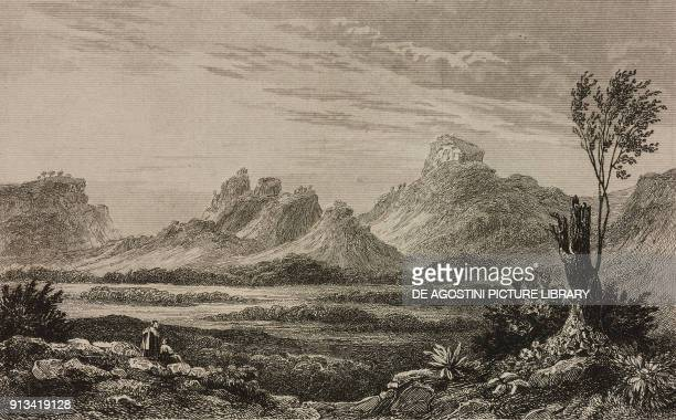 Porphyry rocks on Mount Jacal Mexico engraving by Hendrick Van der Burgh from Mexique et Guatemala by De Larenaudiere Perou by Lacroix L'Univers...