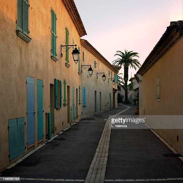 Porquerolles alley at sunset