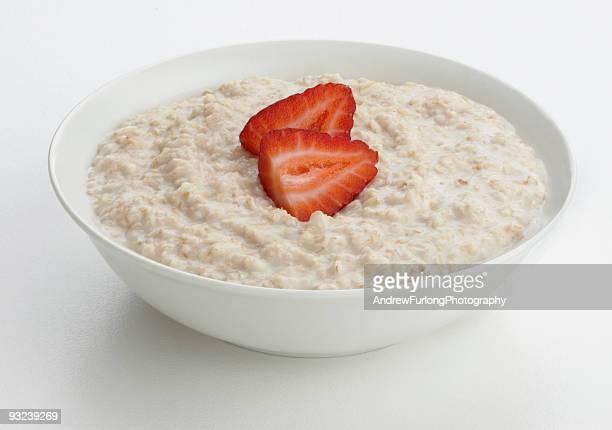 Porridge oats bowl with strawberry