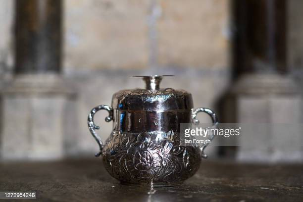 Porringer which was used as a christening gift in 1682 is displayed at a media preview of a new exhibition showcasing treasures from York Minster's...