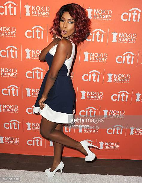 Porscha Coleman arrives at the No Kid Hungry Benefit Dinner at Four Seasons Hotel Los Angeles at Beverly Hills on October 14 2015 in Los Angeles...