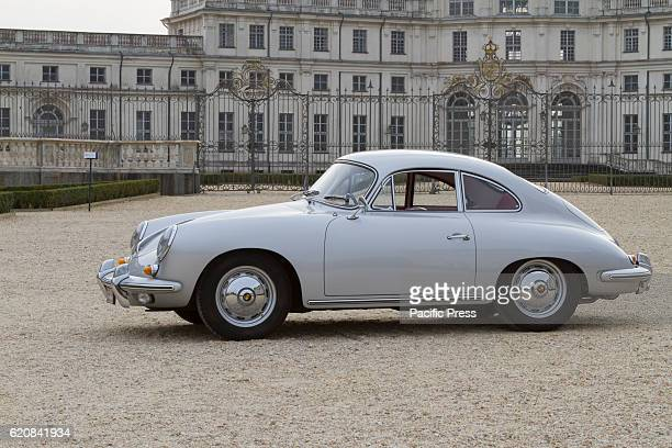 Porsche 356 B 1600 S in front of Palazzina di caccia of Stupinigi during Classic cars auction in Turin Italy