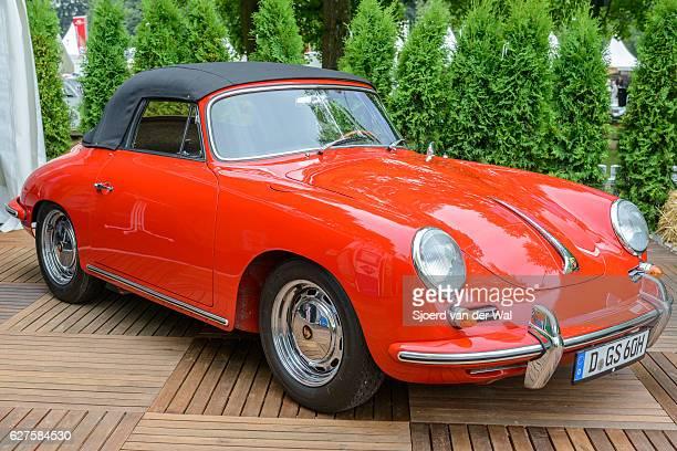 "porsche 356 c cabriolet classic sports car front view - ""sjoerd van der wal"" stock pictures, royalty-free photos & images"