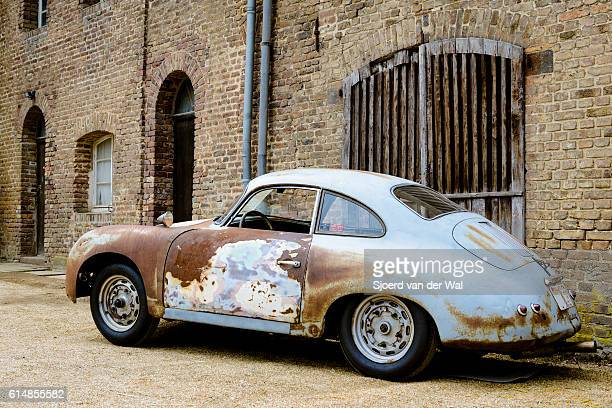"porsche 356 classic car barn find - ""sjoerd van der wal"" stock pictures, royalty-free photos & images"