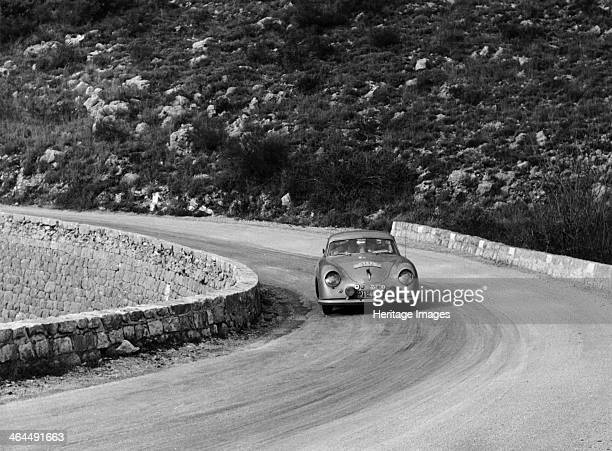 Porsche 356 taking a corner in the Monte Carlo Rally 1954 The 356 was the first sports car produced by the famous German manufacturer