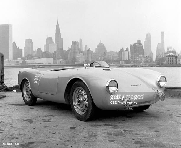 Porsche 550 Spyder automobile on the East River waterfront Queens NY The Manhattan skyline is in the background Image dated February 1 1954