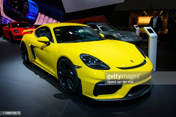 Porsche 718 Cayman GT4 sports car on display at Brussels Expo on January 9 2020 in Brussels Belgium The 718 Cayman GT4 is a more powerful model with...