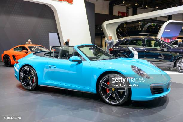 Porsche 911 Cabriolet convertible sports car front view on display at Brussels Expo on January 13 2017 in Brussels Belgium The iconic Porsche 911...