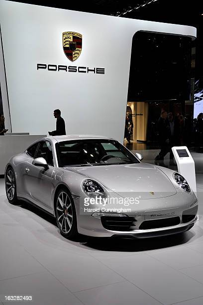 Porsche 911 Carrera 4S is seen during the 83rd Geneva Motor Show on March 6 2013 in Geneva Switzerland Held annually with more than 130 product...