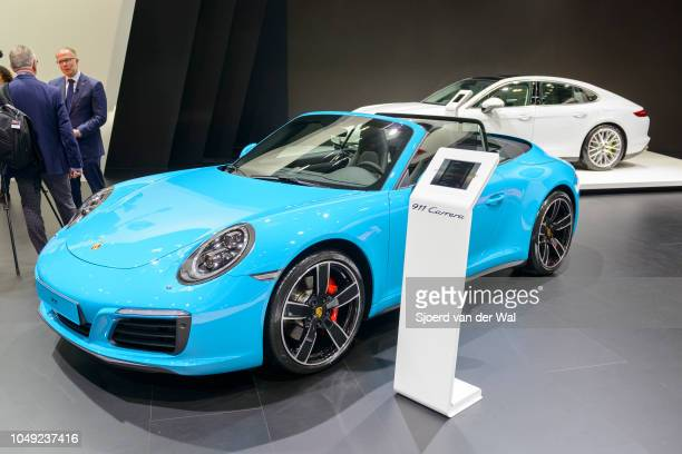 Porsche 911 Carrera Cabriolet convertible sports car front view on display at Brussels Expo on January 13 2017 in Brussels Belgium The iconic Porsche...