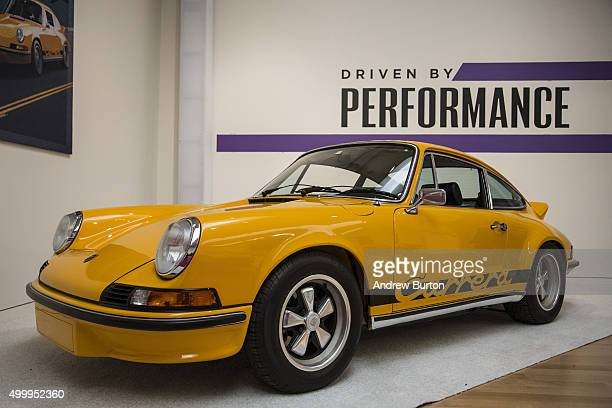 Porsche 911 Carrera RS 27 Touring sits on display at Sotheby's during a press preview before the Driven by Disruption auction on December 4 2015 in...