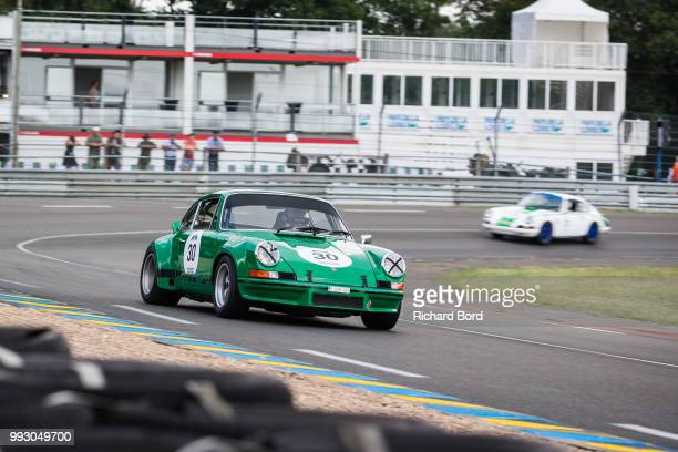 Porsche 911 Carrera RSR 28L 1973 driven by Didier Calmels competes the Free Practrice during Le Mans Classic 2018 on July 6 2018 in Le Mans France
