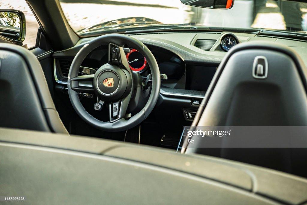 Porsche 911 Carrera S Cabriolet sports car interior : Stock Photo
