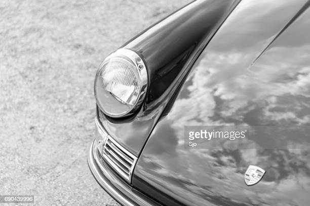Porsche 911 classic sports car front in black and white