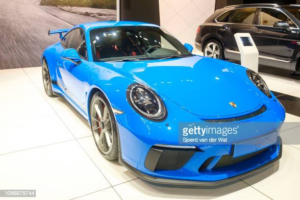 Porsche 911 GT3 highperformance sports car on display at Brussels Expo on January 10 2018 in Brussels Belgium The Porsche 911 GT3 is a high...