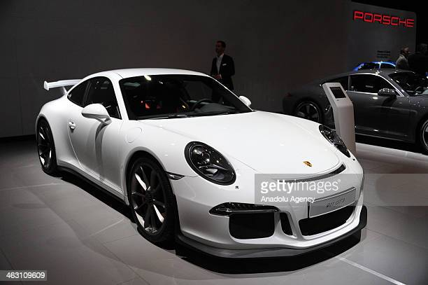 Porsche 911 GT3 is presented during 92nd Brussels Motor Show , from 16 to 26 January 2014, at Brussels Expo at the Heysel in Brussels, Belgium,...