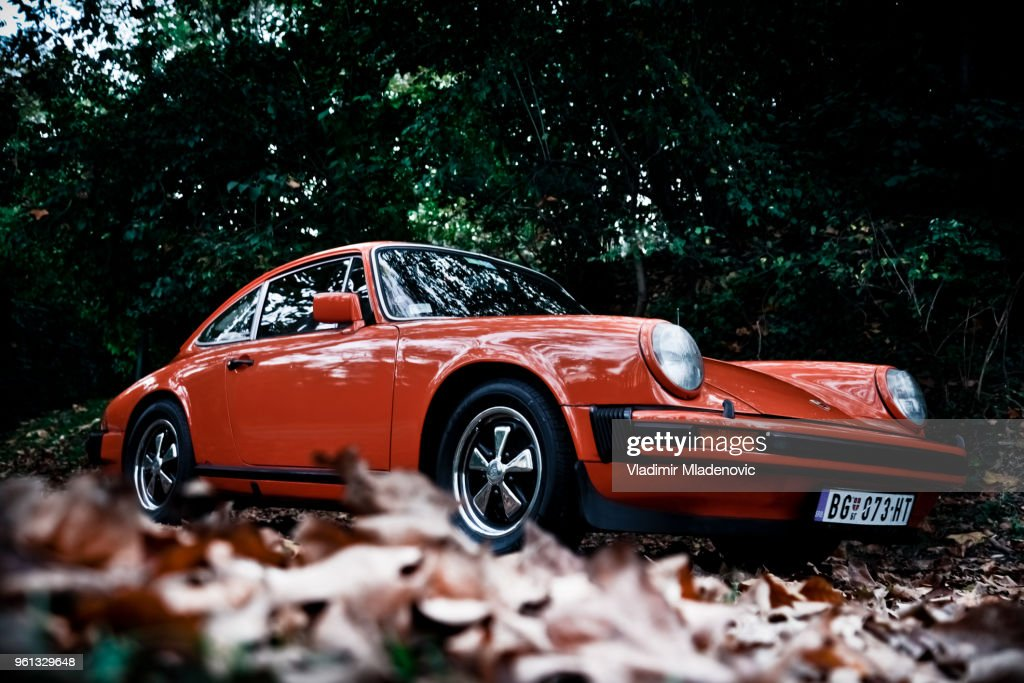 Porsche 911 in the woods : Stock Photo
