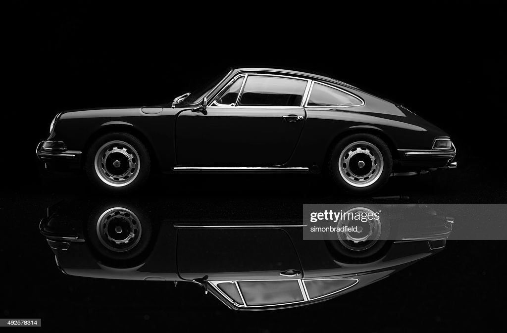 Porsche 911 Low Key In Black And White : Stock Photo