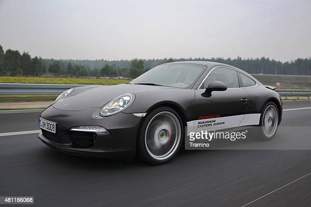 porsche 911 on the highway - porsche stock pictures, royalty-free photos & images