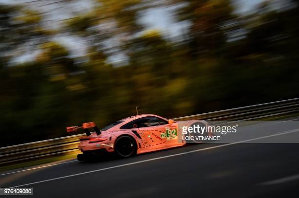 Porsche 911 RSR WEC Belgian'd driver Laurens Vanthoor competes during the 86th edition of the 24h du Mans car endurance race on June 16 2018 in Le...