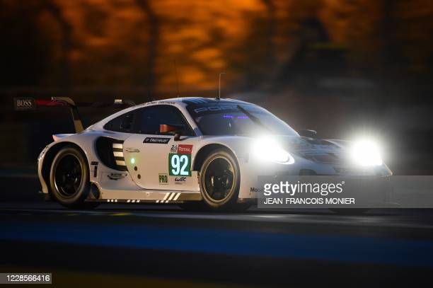 Porsche 911 RSR WEC Dannish driver Michael Christensen takes part in the practice session on September 17 in Le Mans, northwestern France, ahead of...