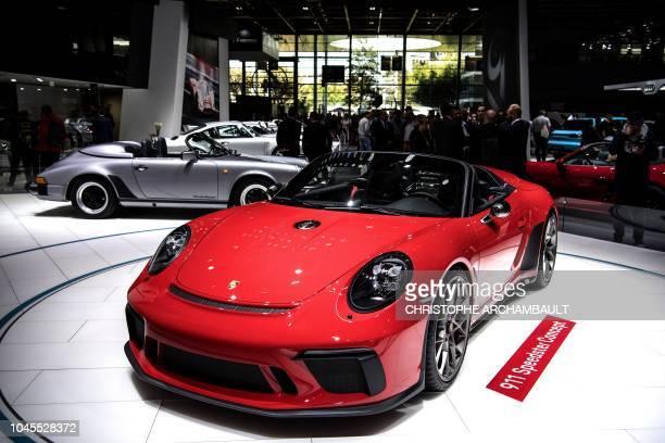 A Porsche 911 Speedster is presented at the Paris Motor Show on October 4 2018 in Paris