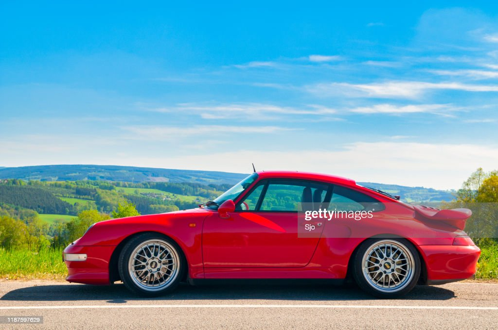 Porsche 911 Turbo in a rural landscape : Stock Photo
