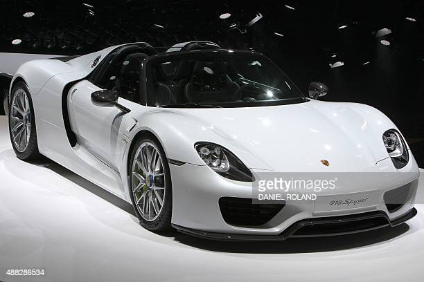 A Porsche 918 Spyder car is presented at the 66th IAA auto show in Frankfurt am Main western Germany on September 15 2015 Hundreds of thousands of...