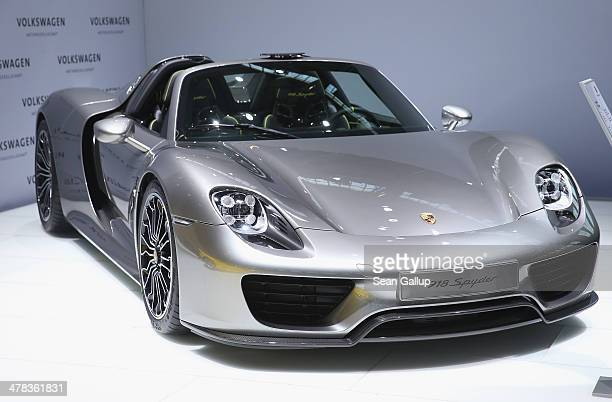 Porsche 918 Spyder car stands on display prior to the Volkwagen annual press conference to announce financial results for 2013 on March 13 2014 in...