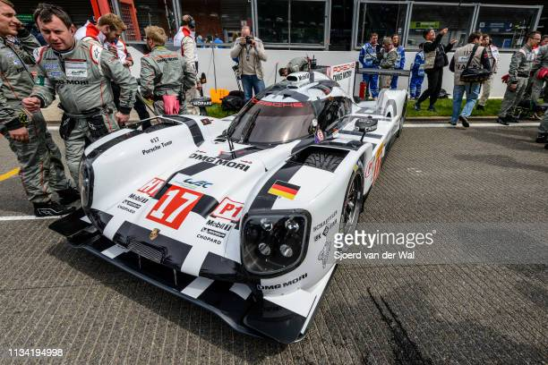 Porsche 919 Hybrid sportsprototype racing car driven by BERNHARD T WEBBER MHARTLEY B on pole position at the start grid during the 6 Hours of...