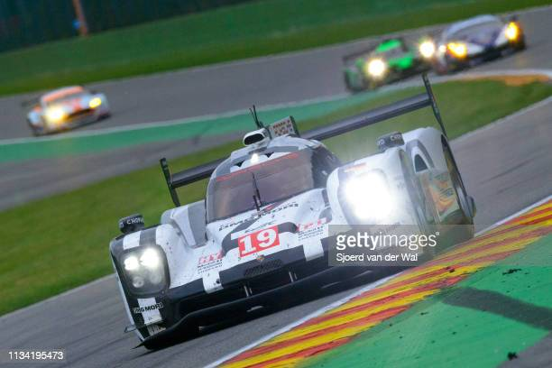 Porsche 919 Hybrid sportsprototype racing car driven by HÜLKENBERG N BAMBER ETANDY N driving through Eau Rouge on track during the 6 Hours of...
