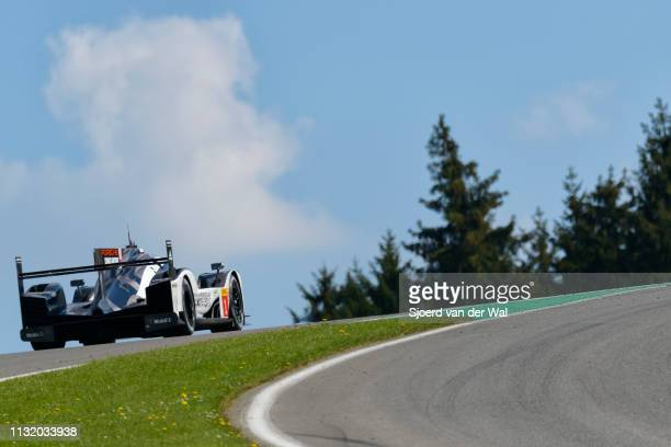 Porsche 919 Hybrid sportsprototype racing car driven by Timo Bernhard Mark Webber and Brendon Hartley driving on track during the 6 Hours of...