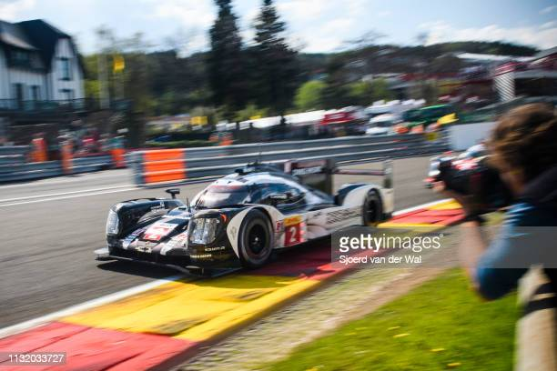 Porsche 919 Hybrid sports-prototype racing car of Romain Dumas, Neel Jani and Marc Lieb driving on track during the 6 Hours of Spa-Francorchamps...