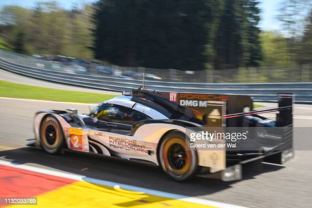 Porsche 919 Hybrid sportsprototype racing car of Romain Dumas Neel Jani and Marc Lieb driving on track during the 6 Hours of SpaFrancorchamps race...