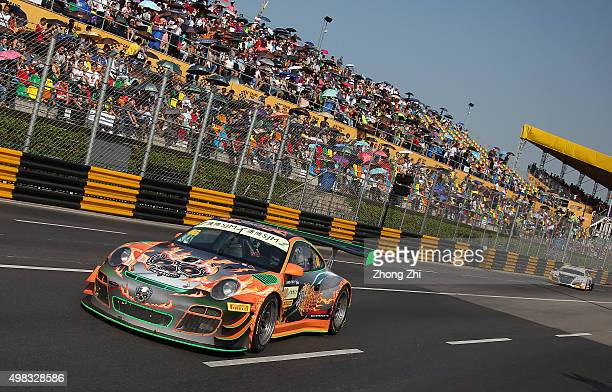 Porsche 997 GT3R driver John Shen of Canada in action while the sponsor Pirelli logo on the car during the SJM Macau GT CupFIA GT World Cup event as...
