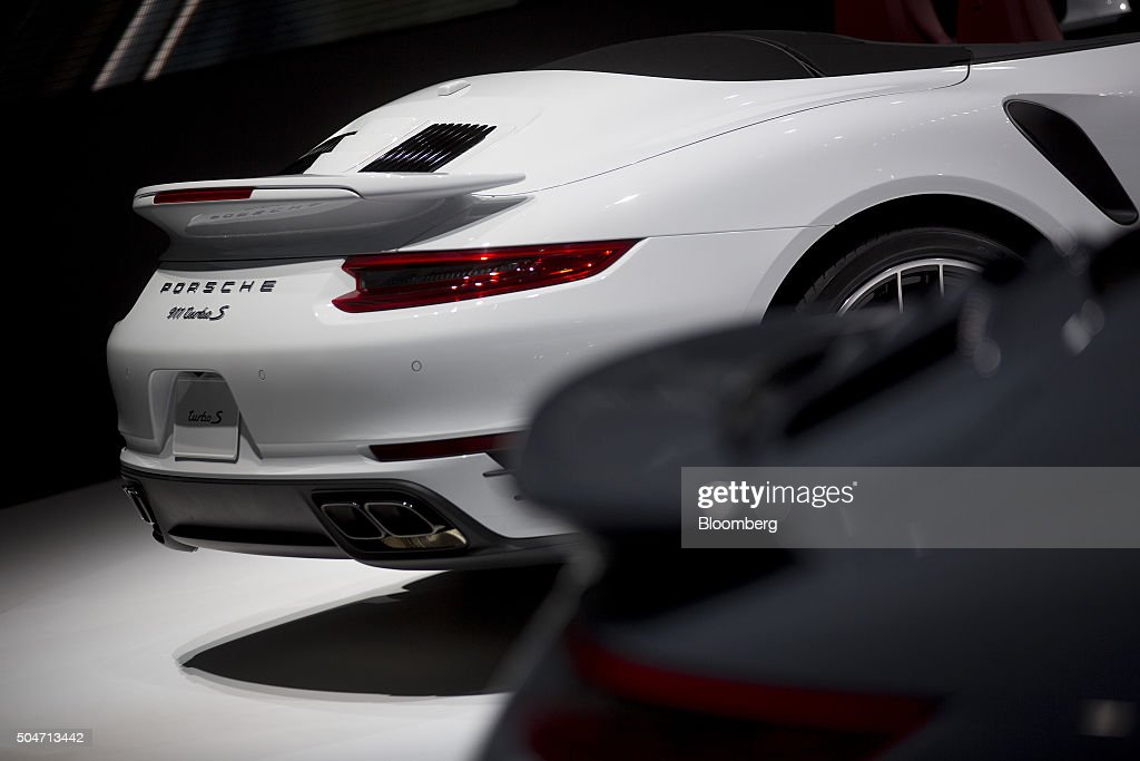 A Porsche AG 911 Turbo S vehicle sits on display during the 2016 North American International Auto Show (NAIAS) in Detroit, Michigan, U.S., on Tuesday, Jan. 12, 2016. Last year's auto show featured 55 vehicle introductions, a majority of which were worldwide debuts, and was attended by over 5,000 journalists from 60 countries. Photographer: Andrew Harrer/Bloomberg via Getty Images