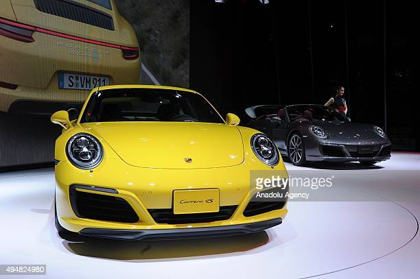 Porsche AG Motor Co's New 911 Carrera 4S is displayed during the Tokyo Motor Show at Tokyo Big Sight on October 29 2015 in Tokyo Japan 160 companies...